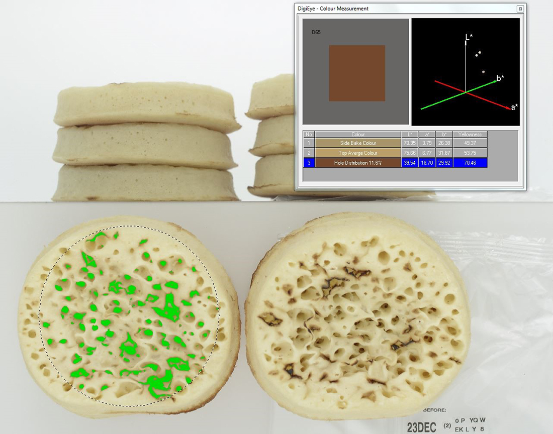 Colour measurement of Crumpets in DigiEye System