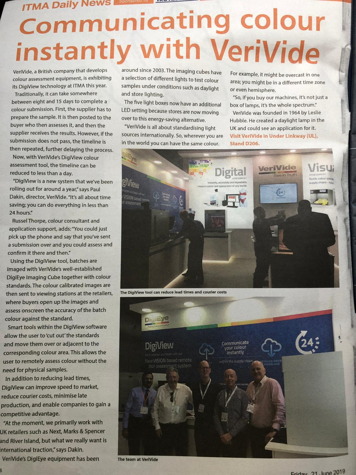 VeriVide's DigiView and CAC LED featured in ITMA Daily News