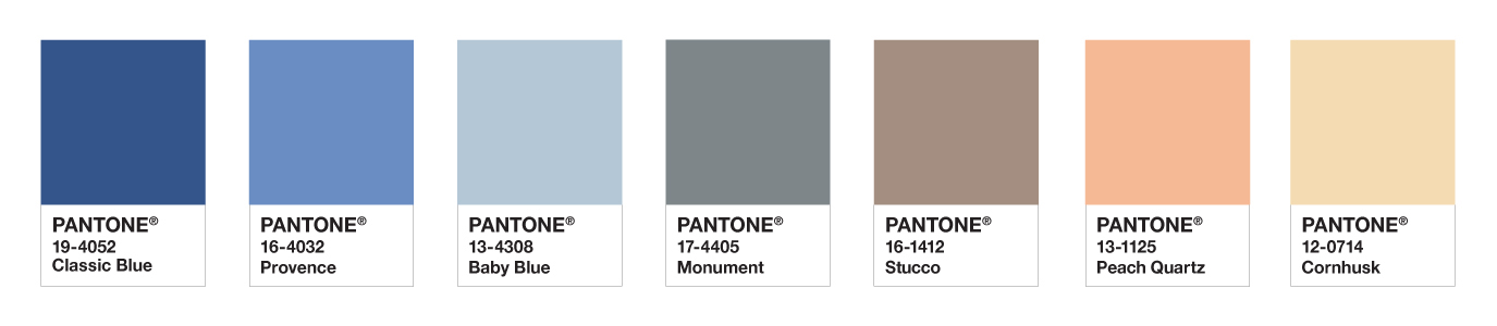 Pantone Colour Palette for Interior Design and Furnishings