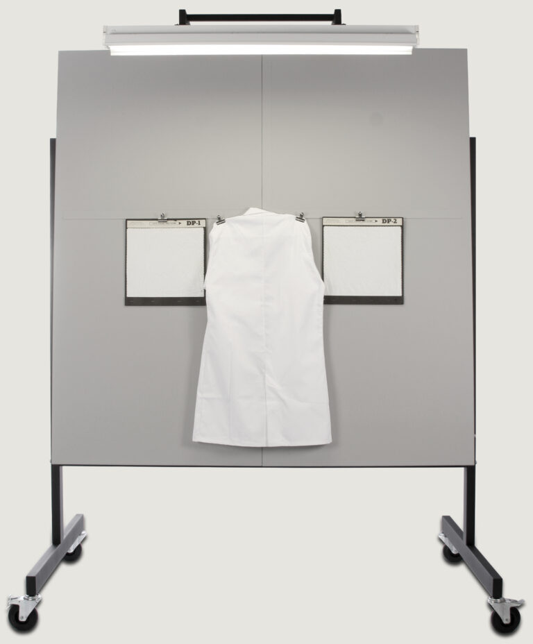 Lab coat hanging on viewing board
