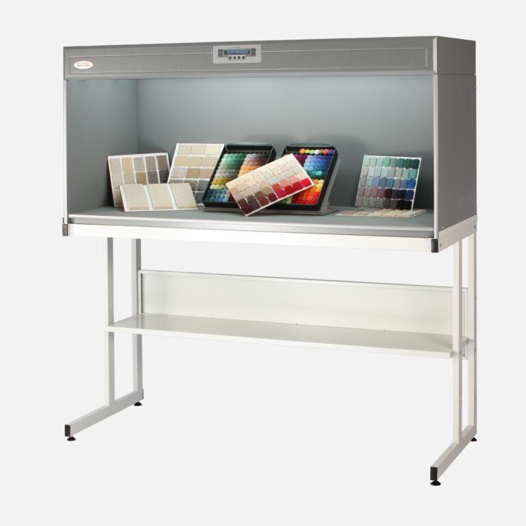 Carpet samples in colour assessment cabinet