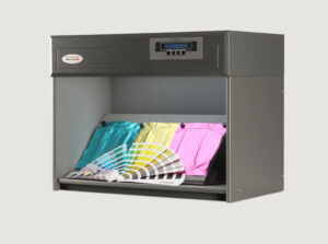 Foils and colour fan inside colour assessment cabinet