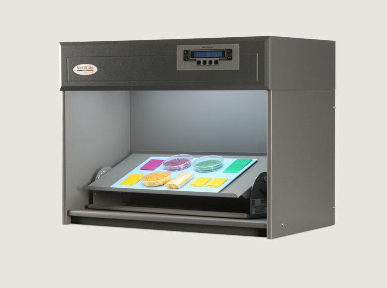 Colourful plastic chips inside colour assessment cabinet