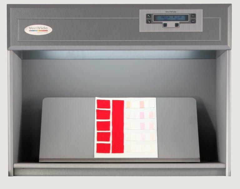 Fabric samples inside colour assessment cabinet