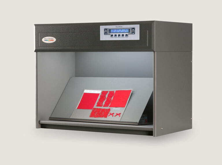 red fabric inside colour assessment cabinet