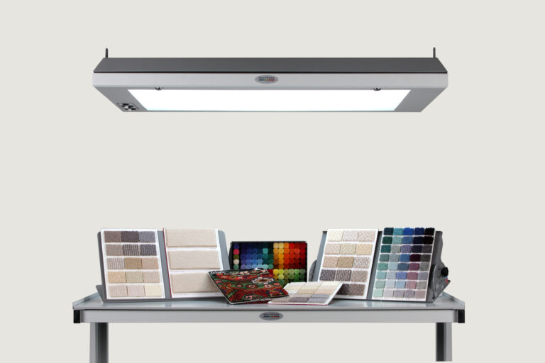 VeriVide Luminaire with a range of carpet samples underneath