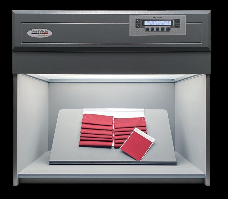 Burgundy fabric inside colour assessment cabinet