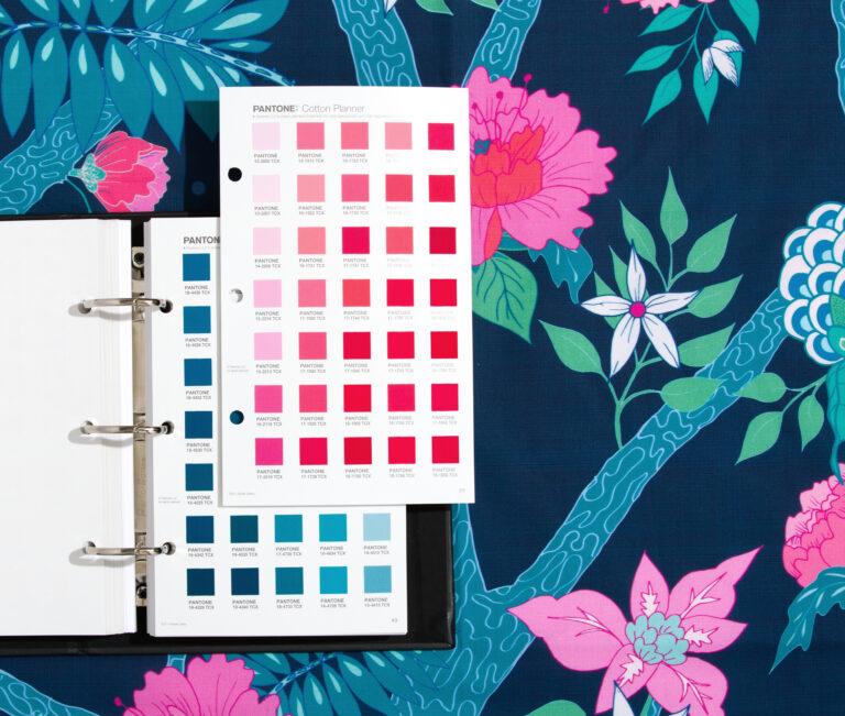 Pantone Cotton planner on patterned textile